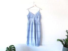 hellblaues H&M Kleid Gr. 40 M Spitze blau Spaghettiträger Midikleid