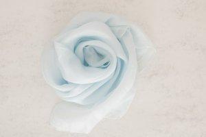 Handarbeit Foulard en soie bleu clair-bleu azur