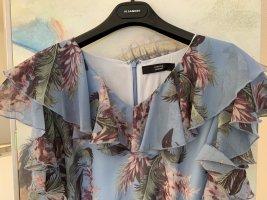Hellblaues Sommer-Blumen-Seiden-Kleid*wie neu*schöner Farbmix