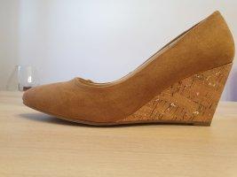 Anna Field Zapatos de cuña marrón claro-camel Cuero