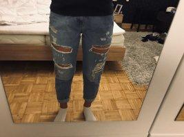 Please Jeans a 3/4 bianco-azzurro