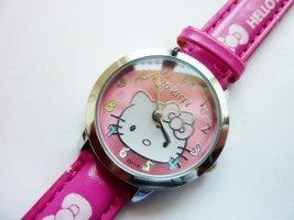 Hello Kitty Armbanduhr mit Lederarmband pink Geschenkidee