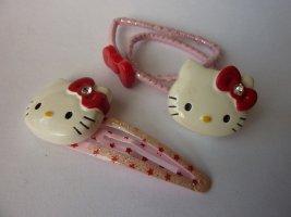 Hello Kitty Haarspange Haargummi Schmuckset NEU