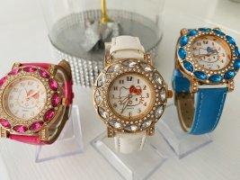 Hello Kitty Uhr weiß mit Steinchen Glitzer