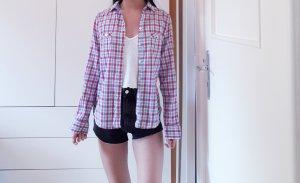Vintage Camicia di flanella multicolore