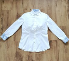 Caliban Blouse-chemisier blanc-bleu