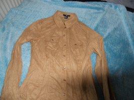 H&M Skórzana bluzka jasnobrązowy Poliester