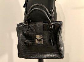 Henkel—Handtasche schwarz Krokoprägung Silvio Tossi