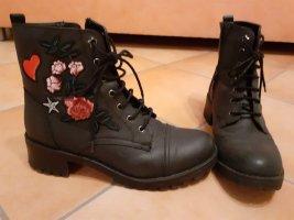Aanrijg laarzen zwart-neonrood