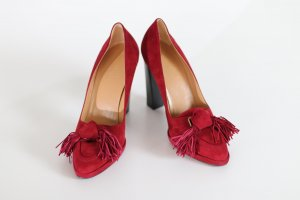 Hermès Tacones de plataforma rojo oscuro Cuero