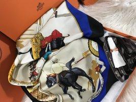 Hermès Bufanda de seda azul-blanco puro Seda