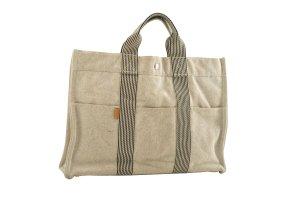 Hermès Bolso de compra beige fibra textil