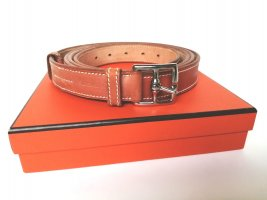 Hermès Leather Belt cognac-coloured-silver-colored leather