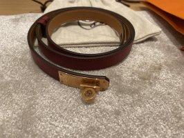Hermès Leather Belt red-gold-colored