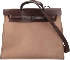 Hermès Herbag Zip Handtasche, Schultertasche aus Toile Officier und Hunter Leder
