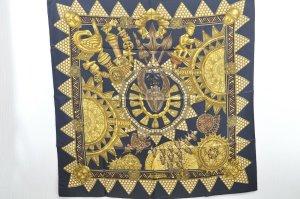 Hermès Écharpe en tricot bleu soie