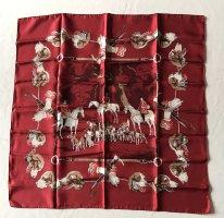 Hermès Foulard en soie rouge carmin-blanc cassé soie