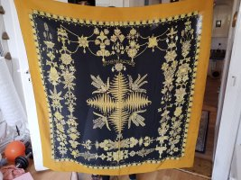 Hermès Panno di seta nero-giallo pallido Seta