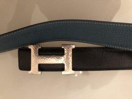 Hermès Dwustronny pasek turkusowy-czarny Skóra