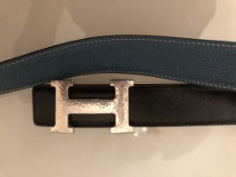 Hermès Ceinture réversible turquoise-noir cuir