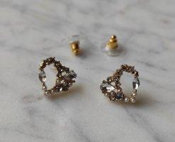 Herz Heart Ohrringe Perlen Kristallsteine 925 Sterling Silber Stecker