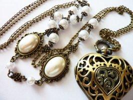 Herz Medaillon Anhänger Halskette Uhr Pocket Watch vintage Uhrenkette viktorianischer Schmuck Unikatschmuck Geschenke Weihnachten