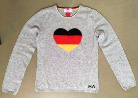 * HERZENSANGELEGENHEIT * KASCHMIR PULLOVER grau Herz Deutschland Farben Gr  36 S