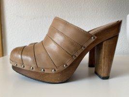 Aldo Clog Sandals beige leather