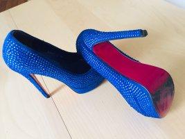High Heel Sandale Blau mit Strass