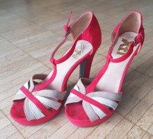 High-Heel Sandaletten, rot-beige, Gr. 37