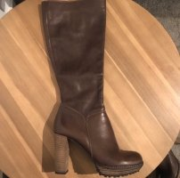 0039 Italy High Heel Boots grey brown-taupe leather