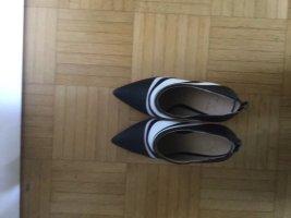 Just Fab Chaussure à talons carrés blanc-bleu foncé