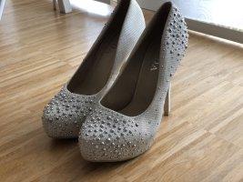 High heels Brautschuhe beige weiß Glitzer 38 Plateau