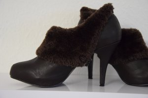 Platform Pumps dark brown mixture fibre