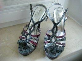 High heels Sandalette Plateausohle Schlangenleder-/Reptiloptik