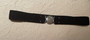 High Cintura in tessuto nero-argento