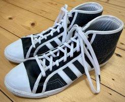 High Top Sneaker Schnürer adidas grau weiß Leder Textil 38 2/3 Sleek Series