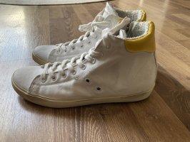 High Top Sneaker von Leather Crown, Echtleder, Gr. 38, weiß-gelb