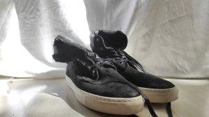 Buffalo Lace-up Boots black-white leather