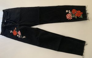 High-Waist Jeans mit Blumenstickerei / Rosenprint