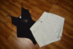 High Waist Jeans weiss kurz gr. 34 von Nakd