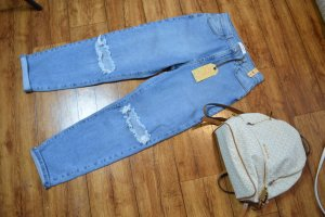 Boot Cut Jeans azure-white