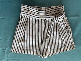 Zara Pantalón corto de talle alto blanco-azul oscuro