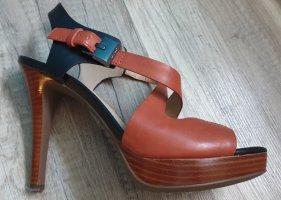Geox Plateauzool sandalen zwart-bruin