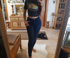 & DENIM Hoge taille jeans donkerblauw