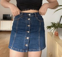 Mango Falda de talle alto azul