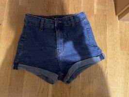 Bershka Pantalón corto de talle alto azul acero
