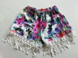 Highwaist Shorts Hotpants Ibiza floral Hippie Spitze Fransen