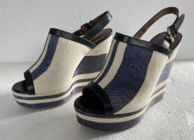 Hilfiger Collection Sandalias con plataforma azul-blanco Lino