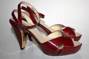 monnari Sandalo alto con plateau rosso scuro-rosso lampone Pelle